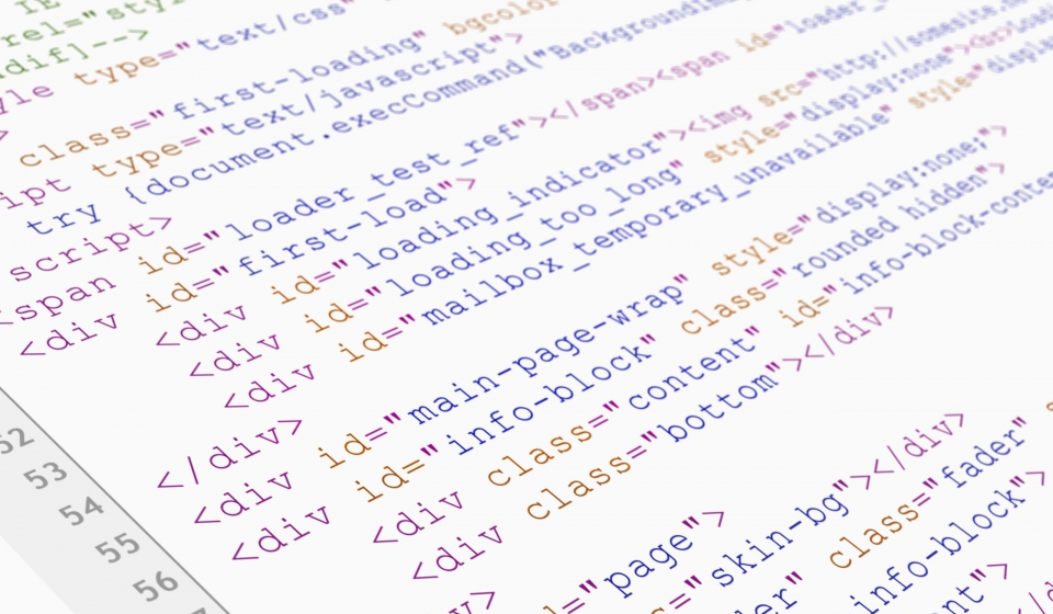 Website HTML code browser view printed on white paper, closeup view.
