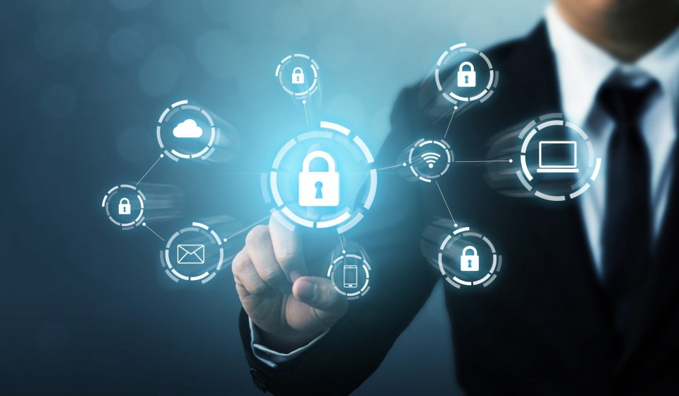Protection network security computer and safe your data concept. Digital crime by an anonymous hacker